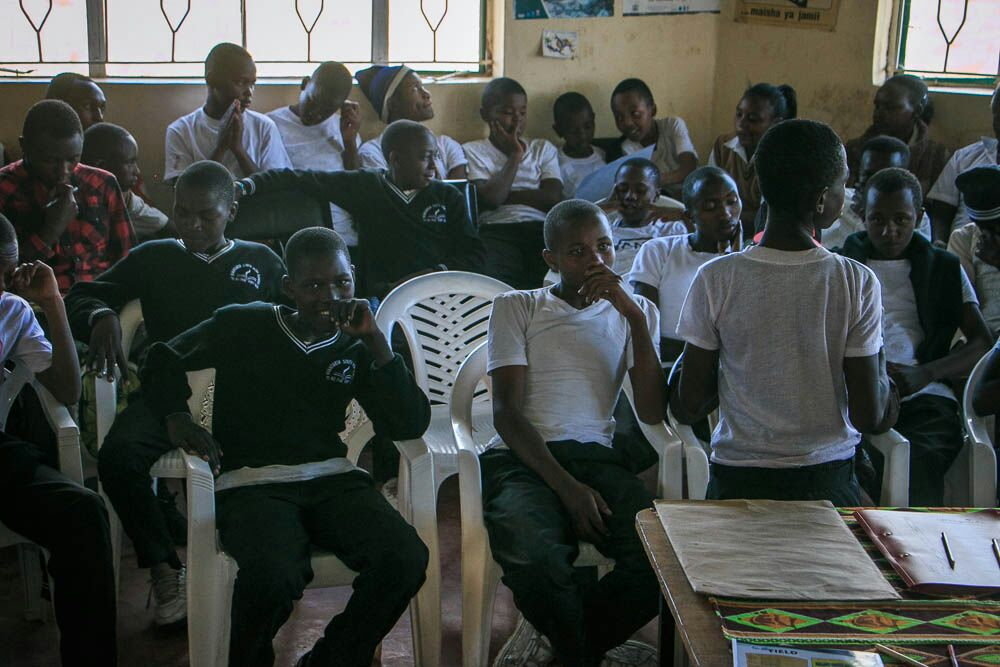 Some of the children going through a session © Anthony Muwasu
