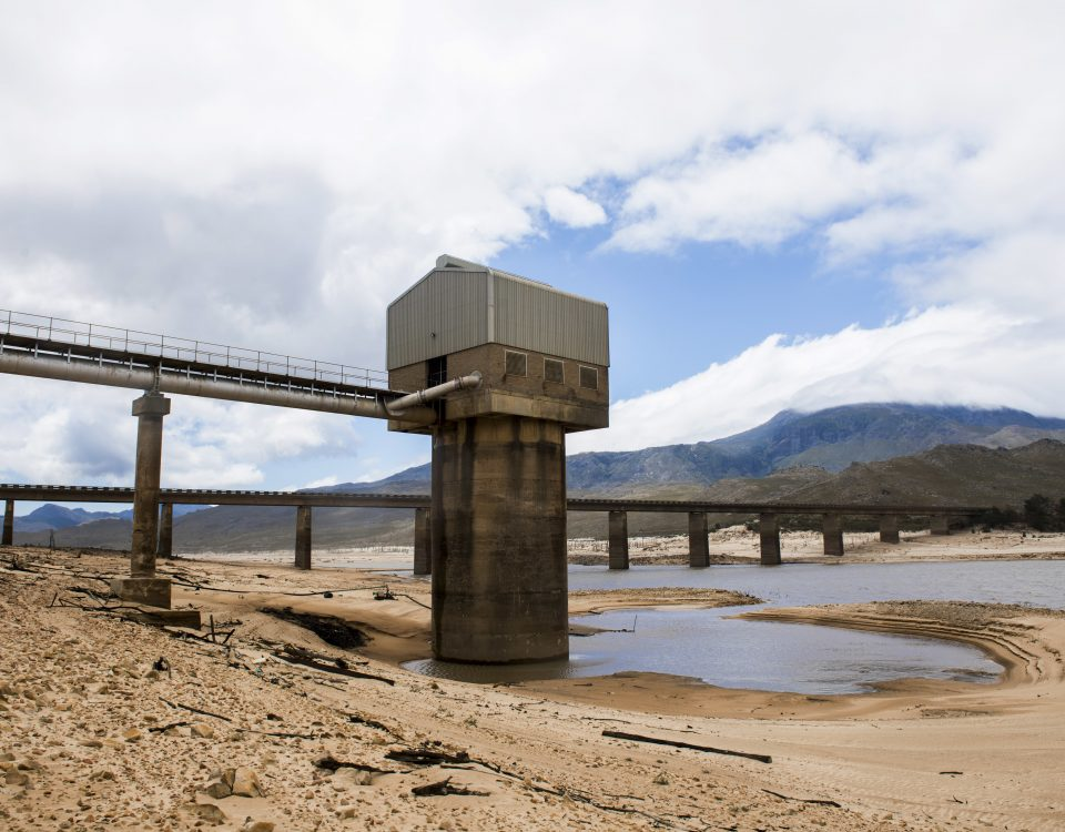 "Cape Town's main water supply from the Theewaterskloof dam outside Grabouw, Cape Town, South Africa, Tuesday, Jan. 23, 2018. A harsh drought may force South Africa's showcase city of Cape Town to turn off most of its taps, as the day that the city runs out of water, ominously known as ""Day Zero"", moves ever closer for the nearly 4 million residents.(AP Photo)"